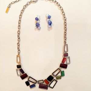 Art Deco Colorful Necklace & Earrings